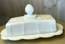 Indiana Milk Glass Colony Harvest Grape-1/4 Lb.Rectangle Covered Butter Dish