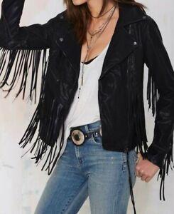 Womens Cowhide Leather Black Fringe Native American Western Jacket 80's Style