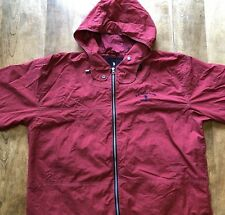 Mens US Polo Assn Jeans Co Red Nylon Hooded Jacket Sz L Converts to Bag w/Strap