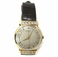 Vintage Baume & Mercier 14k Gold Diamond Automatic Watch Lizard Band