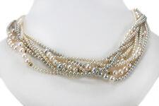 8 reihiges Perlencollier Akoya Zuchtperlen Brillanten 750 Gelbgold [BRORS 13115]