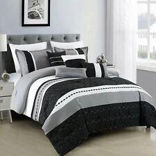 Hgmart 7 Piece Microfiber Bedding Comforter Set Black Bed In A Bag, King Size