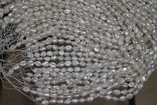 5005 ONE STRAND OVAL BAROQUE WHITE FRESHWATER PEARLS LOOSE JEWELRY CRAFT BEAD
