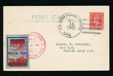 POLAND WW2 1942 USAPS POSTMARK on GB KG6 + FIELD POST AIRCRAFT SEAL + DOUBLE OPT