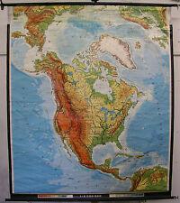Schulwandkarte Amerika Nordamerika Wandkarte Kanada USA 1972 163x190 Wandkarte