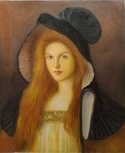 Dream-art Oil painting portrait figure nice young girl & long hair black hat art