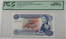 (1978)Bank of Mauritius 5 Rupees Specimen Note SCWPM#30c-CS1 PCGS 66 PPQ Gem New