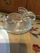 "Glass ""Bunny� Small Lidded Candy Dish, 3.5x4.5x5, Cute As Can Be!"