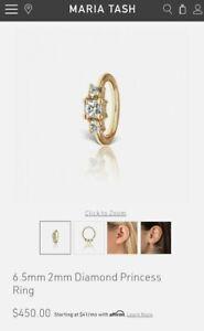 Maria Tash 6.5mm Diamond YG Princess Clicker Huggies 2x Earrings  $900 *Pair*
