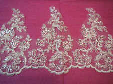 Ivory Embroidered sequins jewellery Floral lace trim/ Bridal gown trim. Per Yard