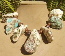 ARIZONA TURQUOISE BLUE WHITE CHUNK STATEMENT NECKLACE COPPER LG JEWELRY COUTURE