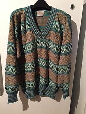 Pronto Uomo Sweater Made In Italy Men's Size XL 54 Beige And Aqua