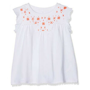 Name it Girl's White Embroidered Top Sleeveless T-Shirt Tunic 4 years