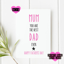 Mum on Father's day card |  happy fathers day | DC15 | best mum and dad