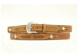 Nocona Belt 42 Inch Ostrich & Basketweave Overlay Leather MB Mens Belt