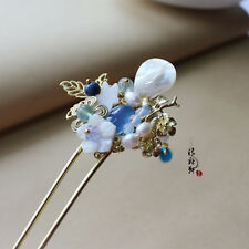 High Quality Chinese Classical Ladies Hairpin Step Shake Blue Agate Shell Flower