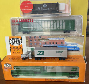 N-Scale - Lot#7 Con-Cor; Red Caboose; The Freight Yard & Tractor Trailer - BN&SF