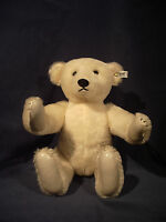 "Teddybear STEIFF Blonde Bear 15"" White Tag 158/41 Mohair Leather Paws Vtg 1985"