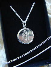 "SILVER 925 NECKLACE BOYS ST CHRISTOPHER 14"" CHAIN PAIGE PAGE BOY PENDANT BABIES"