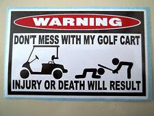 FUNNY WARNING GOLF CART CLUB CAR DRIVER CLUB PUTTER WEDGE STICKER DECAL DM 678