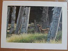 Terry Isaac  Haida Dreams  Fine Art Wildlife Print S/N Deer & Totem Poles Lt Ed