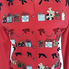 Just B Christmas Cardigan M Holiday Red Embellished Beads Jewels Velvet Bows