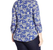 Women's Lucky Brand Floral Peasant  Blouse  1x Embroidery