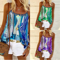 Boho  Tops Strappy Shirt Blouse Womens Cami Summer Beach Casual Vest Ladies Tank