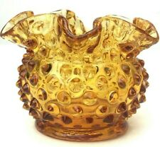 Vintage Fenton Hobnail Glass Amber Ruffled Rose Candle Holder Vase Candy Dish