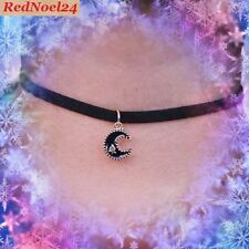Gothic Harajuku Star Struck Moon Black Alloy Plating Adjustable Suede Choker
