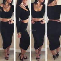 Womens 2PCS Two Piece Bodycon Bralet Crop Top Skirt Party Bandage Midi Dress Hot
