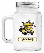 Wichita State Shockers Mason Jar - 20oz Glass With Lid [NEW] NCAA Mug Pint CDG