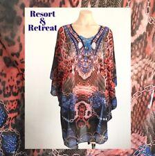 Crystal Embellished Kaftan S/M, 10-18, Resort Wear, Tribal Animal Print