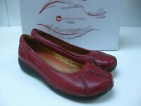 Ladies red leather CLARKS UNSTRUCTURED flats pumps SHOES UK 6 D slip ons 5.5