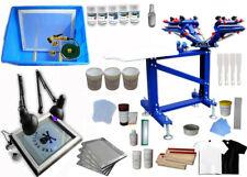 4 Color Screen Printing Kit Silk Press Printer Wiht Exposure Unit Vertical Equip