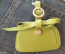 .AUTH CHANEL Leather Luggage Tag in Green