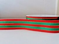 "1 yard 22mm (7/8"")  wide XMAS RED/GREEN/GOLD WOVEN STRIPE DOUBLE SIDED RIBBON"