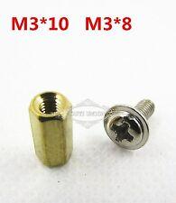 50Set For PCB Board Screws Hexagon Copper M3*10&Cap Screw M3*8 Standoff Spacer