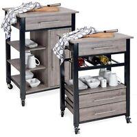 Wooden Metal Rolling Kitchen Serving Trolley Storage Cupboard Drawers Drink Cart