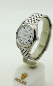Vintage Men's Rolex Datejust Non-Quick 1603 36mm White Roman S/S Watch #W3