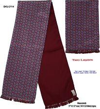 Unisex Premium Quality Unique Reversible Wool & Silk Long Scarf Paisley 2114
