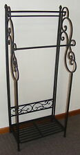 Large Wrought Iron Towel Rack Floor Free Standing Tall + Shelf 2 Rail M/Sec BA51