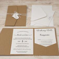 Rustic Kraft Wedding Invitation Set - Personalised Pocket Style - Inc. Printing