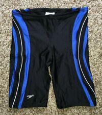 SPEEDO Mens Boys Black Blue Jammer Swimsuit 32