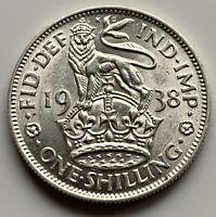 1938 ONE SHILLING - GEORGE VI BRITISH SILVER COIN - A/UNC