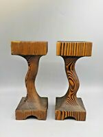 2 Vtg Witco Wood Candle Holders Carved Wood Mid Century Modern Display Pedestals
