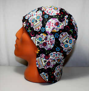 #12. Sugar Skulls Welders Hats - Bikers Caps - Welding Cap Hat - Cotton 100%