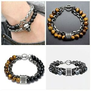 Stress Relief Tigers Eye Obsidians Mens Bracelets 8mm Beads With Stainless Steel