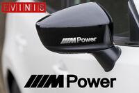 BMW M POWER SILVER VINYL SYMBOL MIRROR DECALS STICKERS GRAPHICS x2