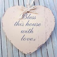 CHIC SHABBY WOODEN HEART BLESS THIS HOUSE WITH LOVE HOME SWEET HOME PLAQUE SIGN